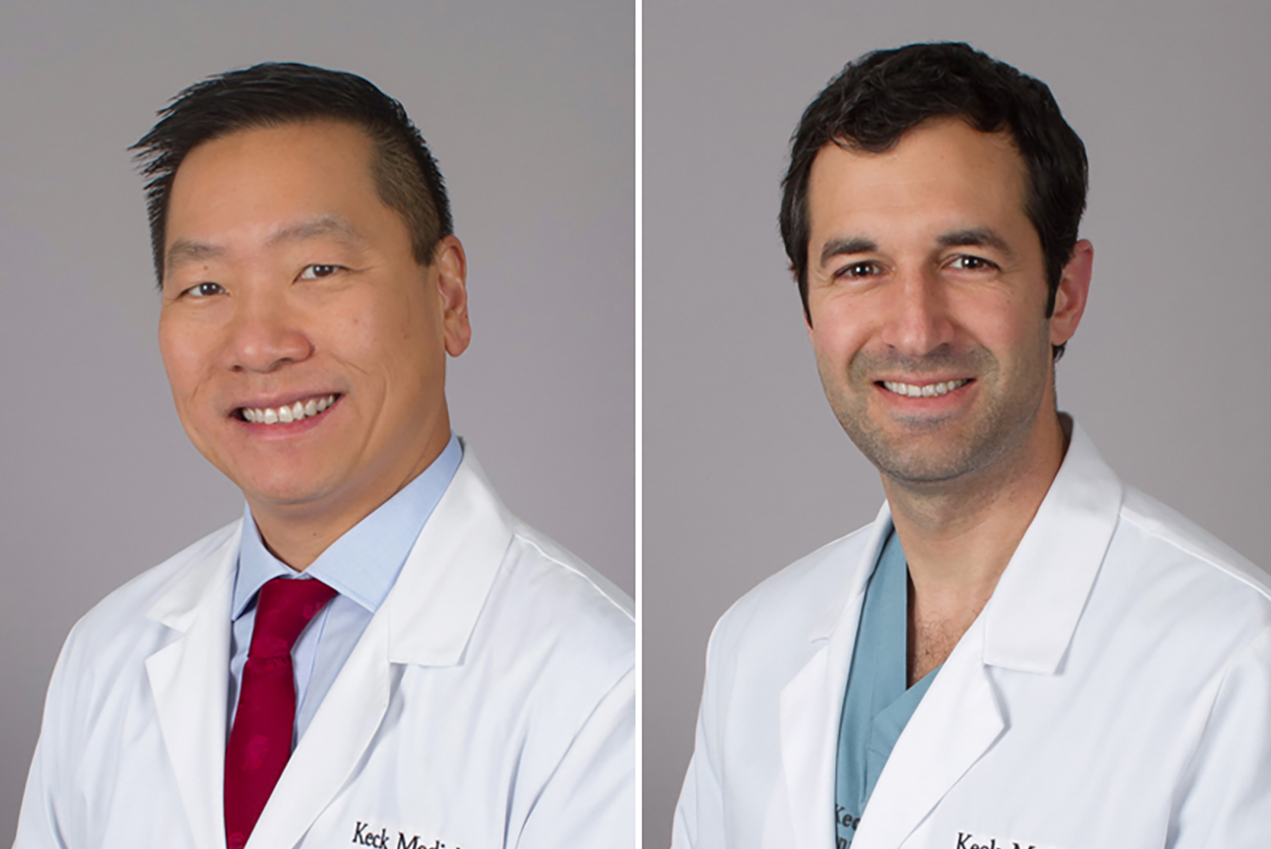 Two side-by-side portraits show doctors smiling in white coats.