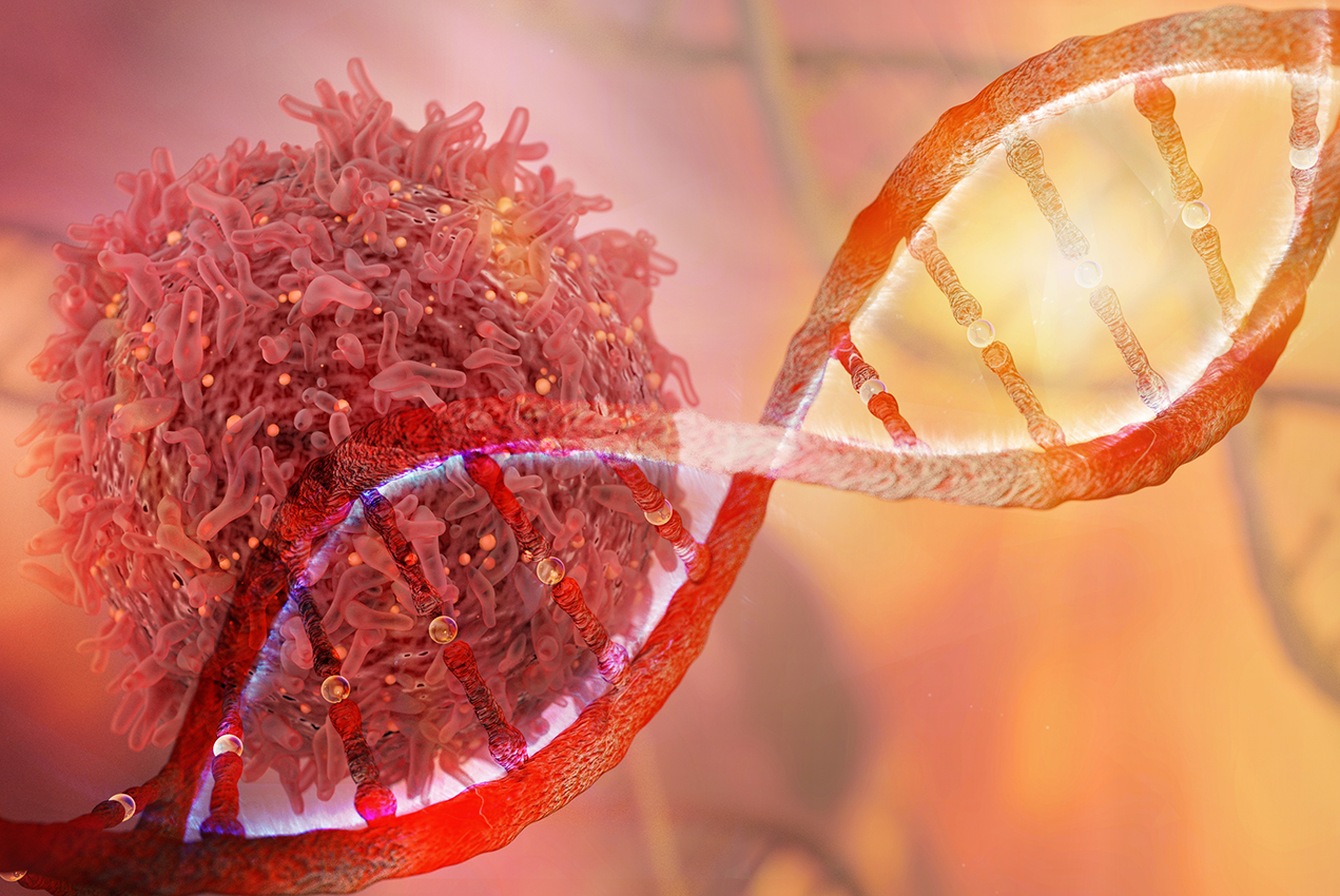 An illustration depicts a cancer cell near a strand of DNA.